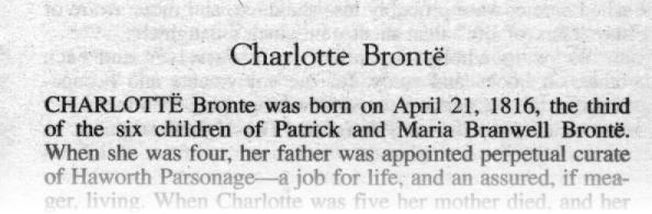 Charlott&euml; Bronte <small>[From the Tor edition of <cite>Jane Eyre</cite>]</small>