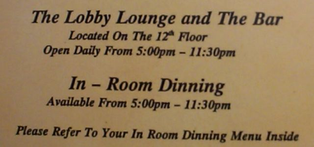 In-Room Dinning