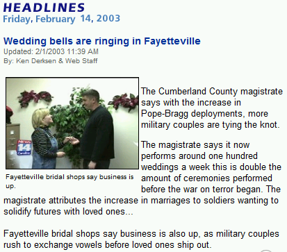 ...military couples rush to exchange vowels...