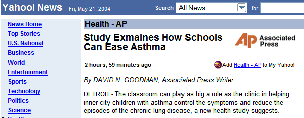 Study Exmaines How Schools Can Ease Asthma