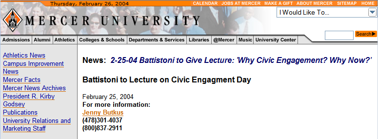 Battistoni to Lecture on Civic Engagment Day